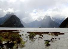 Sunlight breaking through at Milford Sound