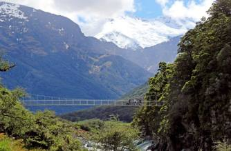 A swing bridge close to the start of Rob Roy's glacier walk