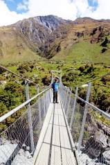 Steve on the swing bridge during Rob Roy's glacier walk