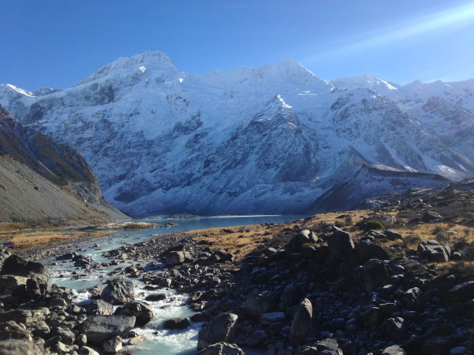 Mount Sefton stands tall and snow capped at Aoraki/Mount Cook