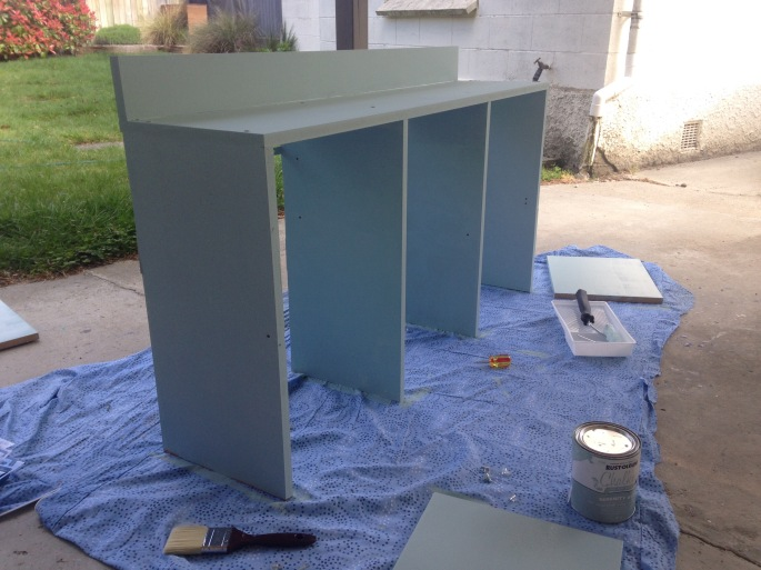 Painting the shelving unit