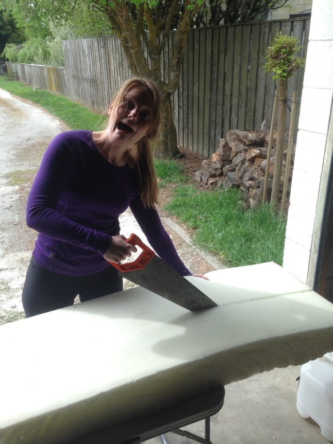 Foam mattress fibres send Steph insane as she cuts us comfortable bed