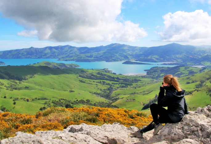 Steph takes in the view as we look down onto Akaroa during a scenic drive