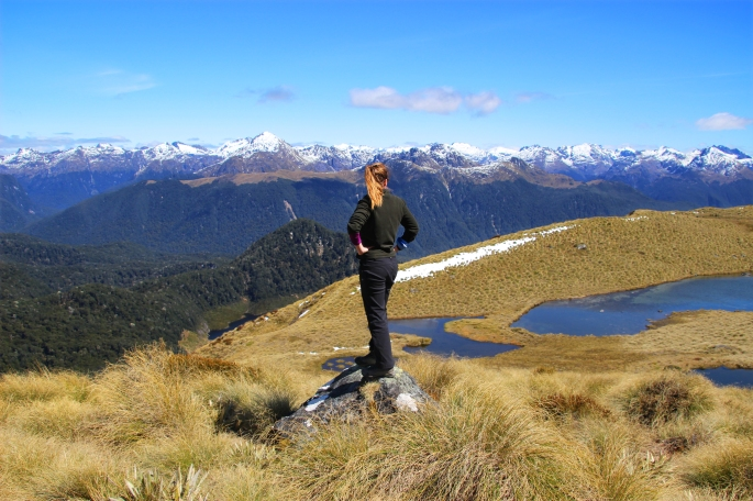Steph enjoys the views from the Mount Burns Tarns Tracks