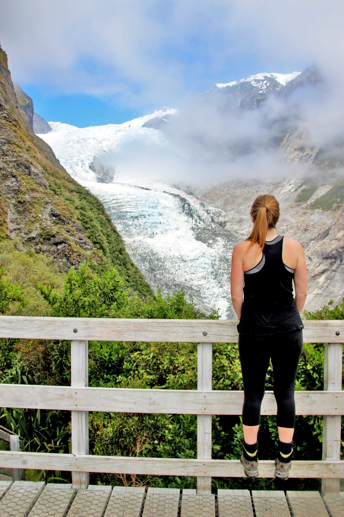 Steph enjoys the view of Franz Josef glacier