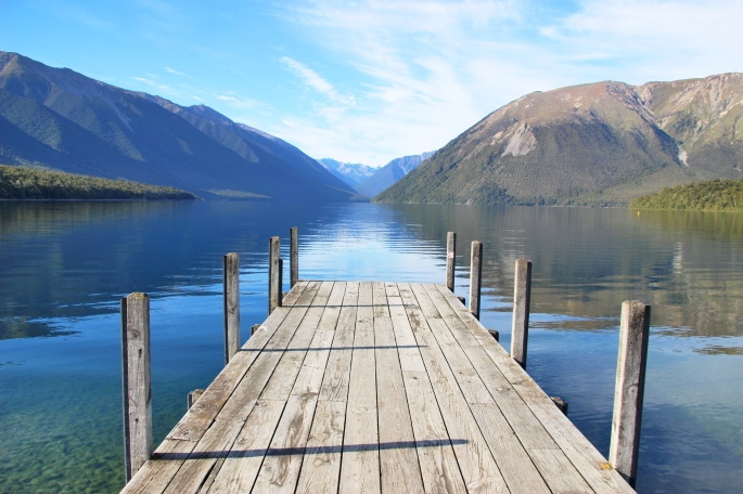 Looking out on the lake and mountains from the jetty at Lake Rotoiti