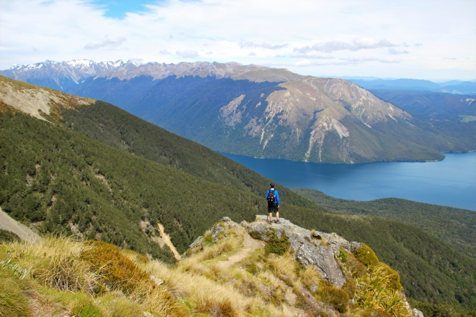 Steve looks out over Lake Rotoiti close to the summit of the St Arnaud Range