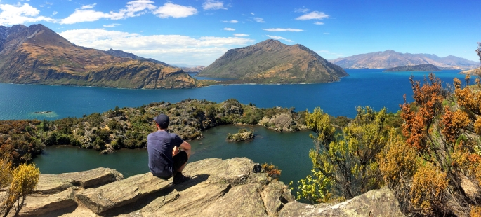 Steve looks out at Lake Wanaka from Mou Waho island